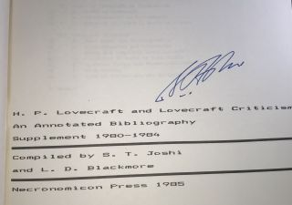 H.P. Lovecraft and Lovecraft Criticism: An Annotated Bibliography - Supplement 1980-1984